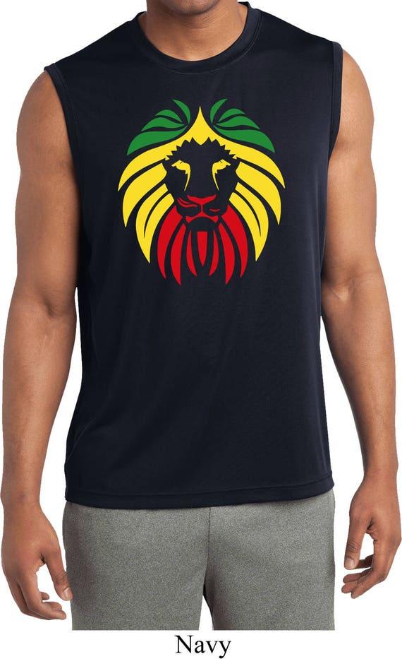 Mens Rasta Lion Muscle T-Shirt
