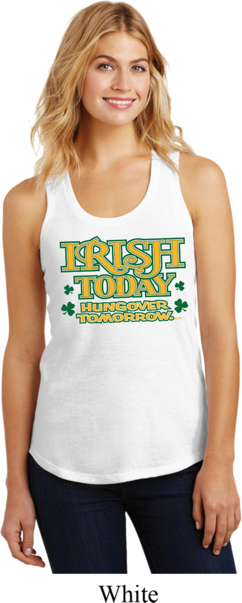 c04bd161ba8093 Ladies St Patrick s Day Tanktop Irish Today Hungover