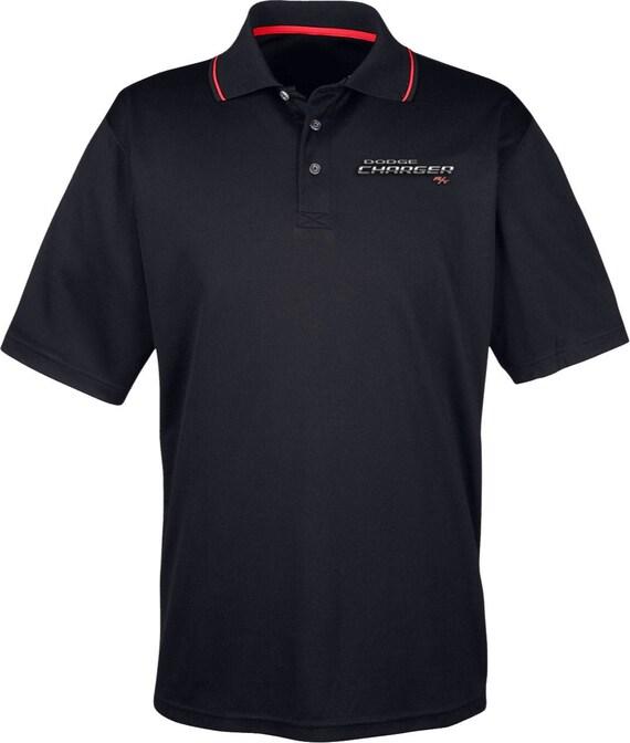 Black XL Dodge Ram Pocket Print Long Sleeve Polo