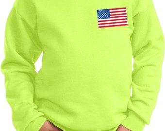 US Flag Pocket Print Kids Sweatshirt 3991-PC90Y