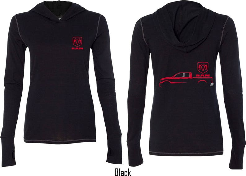 Ladies Red Dodge Ram Silhouette Front /& Back Print Tri Blend Hoodie Tee T-Shirt 21539E2-FB-W3101