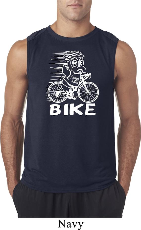 d09bb13d3 Men's Funny Shirt White Penguin Power Bike Sleeveless Tee | Etsy