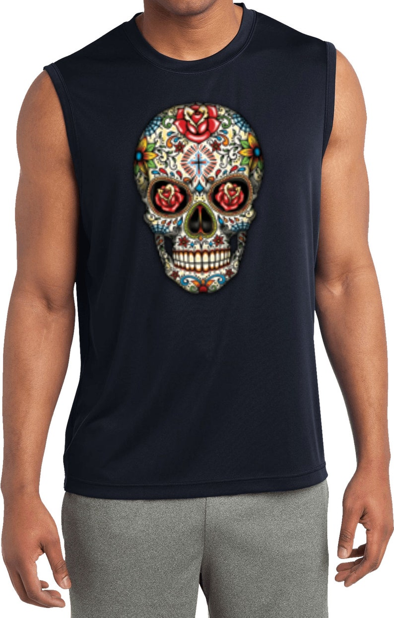 Sugar Skull with Roses Men/'s Halloween Sleeveless Moisture Wicking Tee T-Shirt 16553-ST352