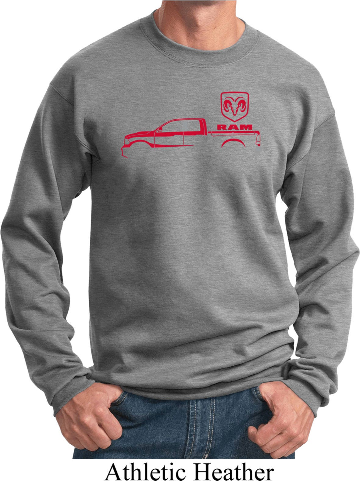 Mens Red Dodge Ram Silhouette Sweat Shirt 21539e2 Pc90 Etsy