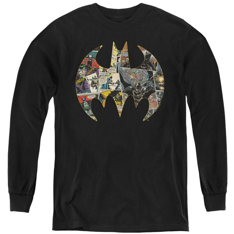 Batman Collage Shield Kid/'s Black T-Shirts
