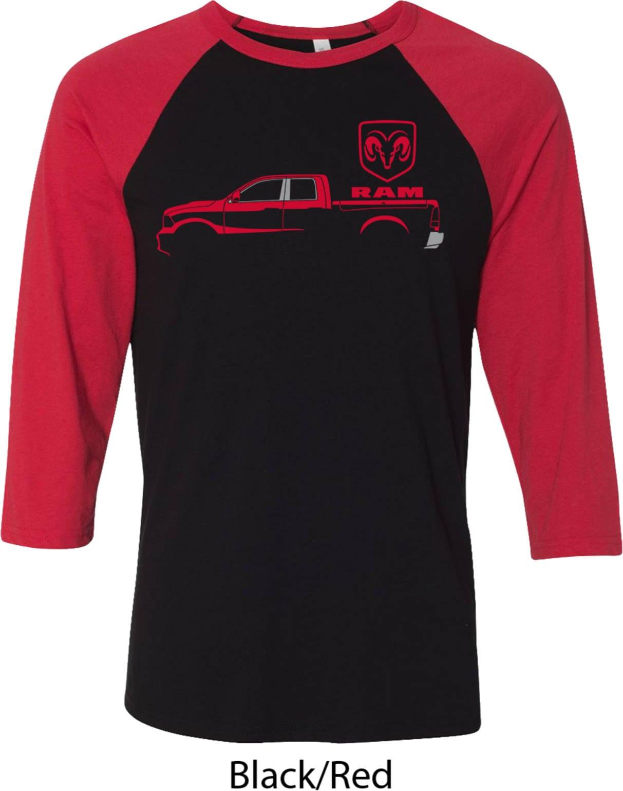 Mens Red Dodge Ram Silhouette Raglan Shirt 21539e2 3200 Etsy