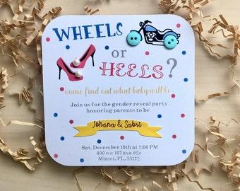 Wheels or heels invitations, wheels or heels gender reveal, gender reveal invitations