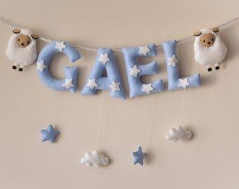 Felt name banner, blue Sheep nursery decor, personalized gift, felt letters, baby gift, child room decor, name garland, custom made banner