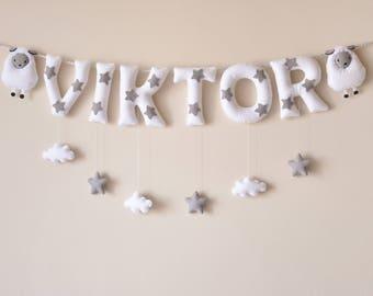 Felt name banner, white Sheep nursery decor, personalized gift, felt letters, baby gift, child room decor, name garland, custom made banner