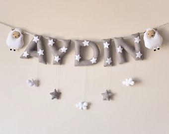Felt name banner, Sheep nursery decor, personalized gift, felt letters, baby gift, child room decor, baby name garland, custom made banner