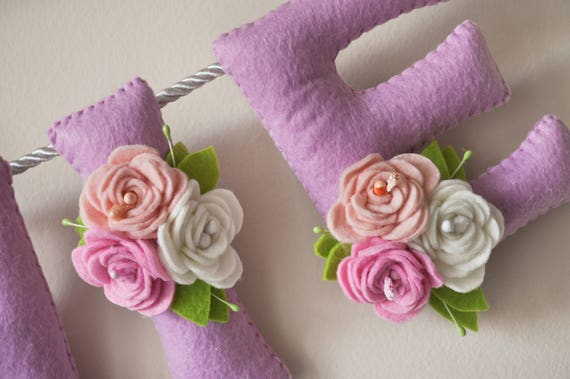 Voelde me naam banner paarse pastel bloemen florale kwekerij etsy