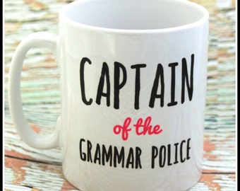 Funny personalised grammar police mug