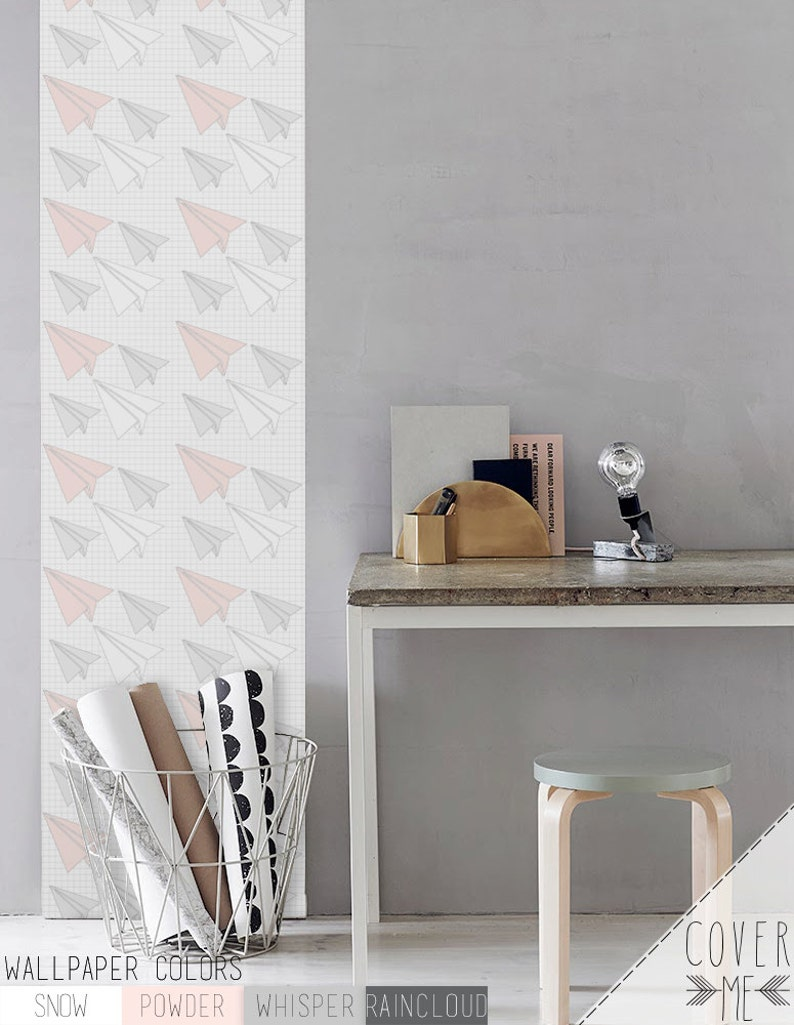 Peel and Stick Paper airplanes pattern vinyl Wallpaper CM023