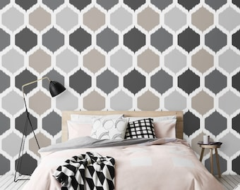 Honeycomb Pattern Wallpaper / Simple Removable Wallpaper / Geometric Nursery Wall Mural / Geometric Wallpaper  - CM002
