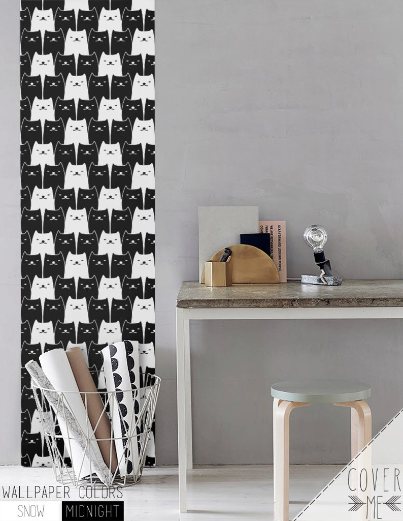 Cats Removable Wallpaper / Nursery Self Adhesive Wallpaper / image 0