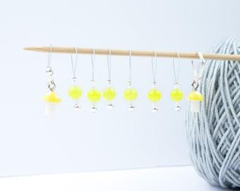 8 Yellow Mushrooms Markers - 6+1 stitch markers - 1 progress marker - Ready to ship