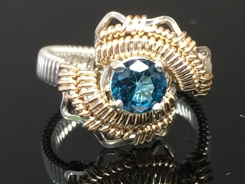 Energy London Blue Topaz Ring Argentium Silver 14 karat yellow gold filled wire wrapped jewelry
