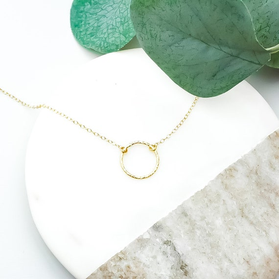 Gold Textured Ring Necklace