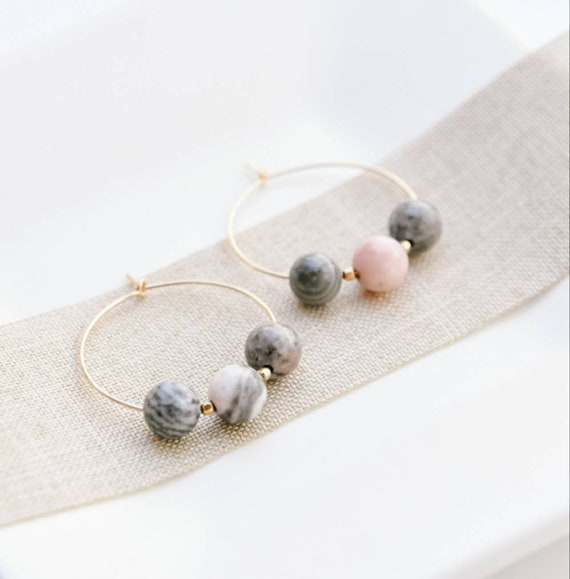 Gold and Pink Jasper Marbled Midi Hoops