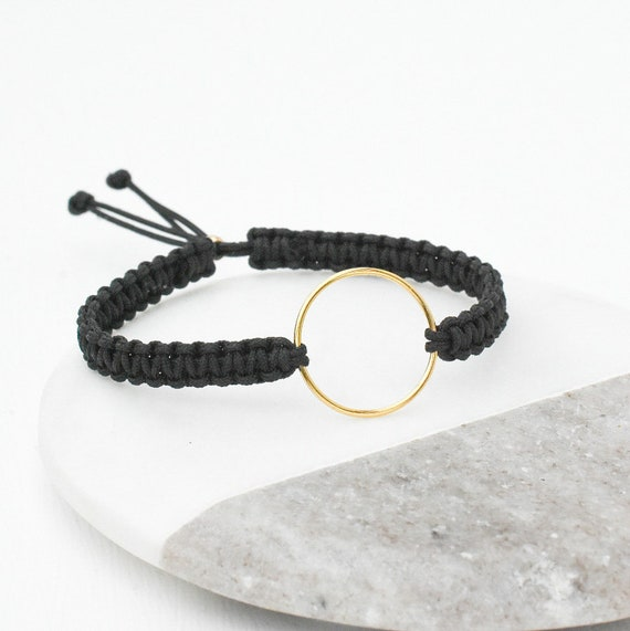 Black Macrame Gold Ring Bracelet