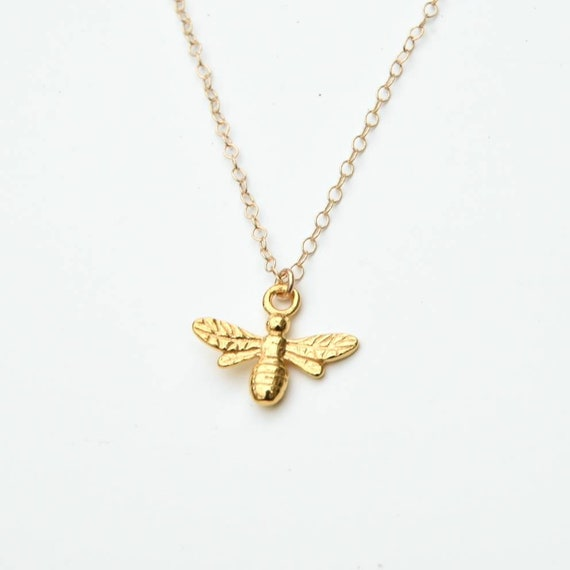 Gold Bee Necklace - Christmas gift for her