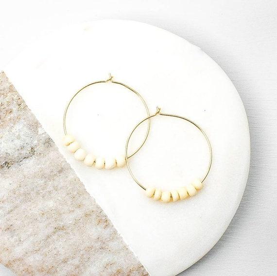 Gold Mini Bone Bead Hoop Earring