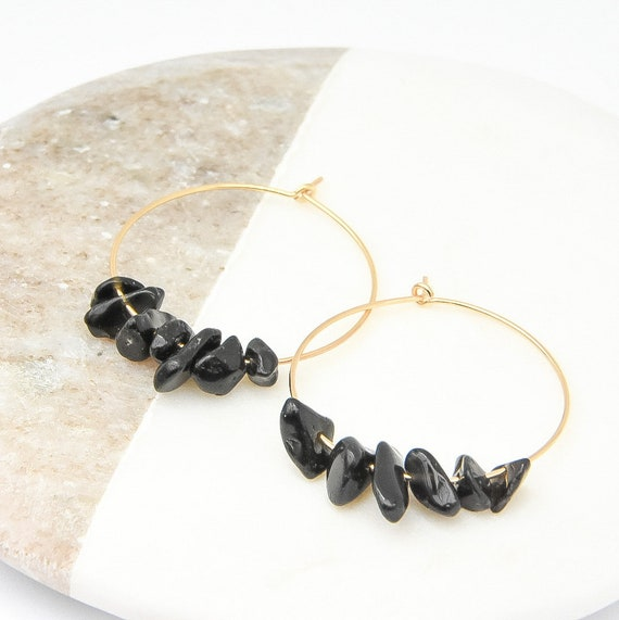 Gold and Black Stone Midi Hoop Earrings  - Black and Gold Earrings, Black and Gold Jewellery, Black Gemstone Jewellery, Gold Hoops