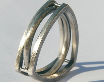 "Ring ""Trillon"" silver Creation HIROKO MIURA Hand made, hmp, simple, original, style Georg Jensen, Ready to ship"