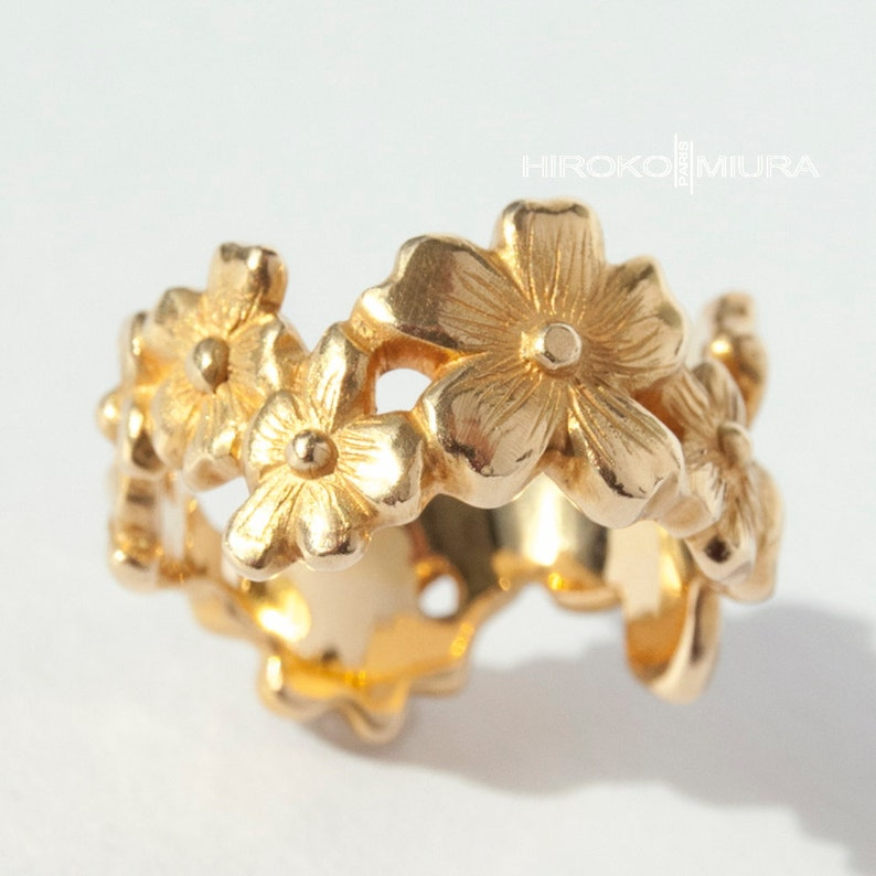 Ring Cherry blossom gold yellow 18 k Creation image 0