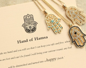 Hand of Hamsa Necklace, Hand of Fatima Necklace, Meaningful Gifts, Meaningful Necklace Good Luck Charm, Pendant, Inspirational Quote Card