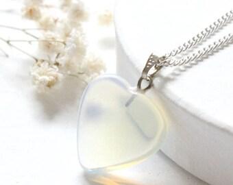Opalite Heart Necklace, Opalite Necklace, Dainty Heart Necklace, Dainty Stone Necklace, Opalite Heart Pendant, Stone Dainty Silver Necklace