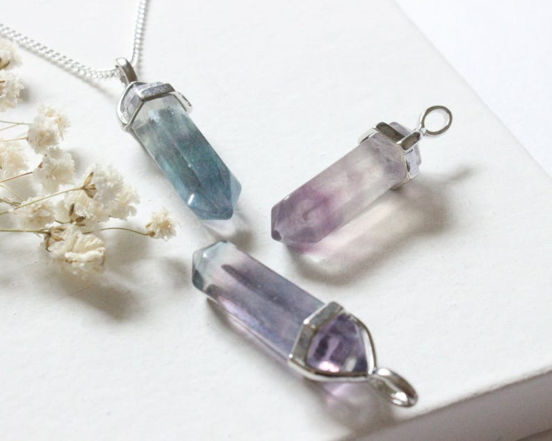 Fluorite Crsytal Healthy Strength Necklace Crystal Point Necklace Rainbow Fluorite Fluorite Necklace Fluorite Gemstone Necklace