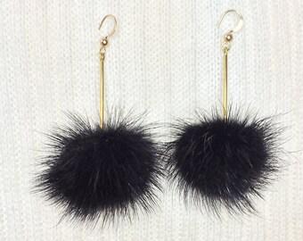 80c3bf904 FUR BALL Earrings * PINK, Black or White * Dangle * Wires * Trendy * Simple  * Minimal *