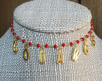 GO DAWGS Red or Black Beaded Choker  Adjustable to Short Necklace length    Game Day   University of Georgia   UGA   Bulldogs   cd766e4a68ef