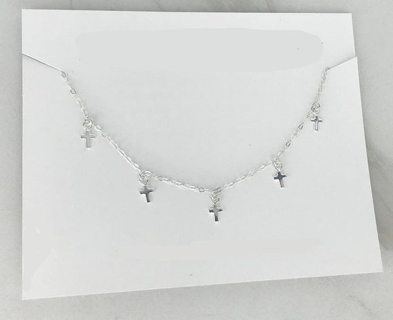 Minimal Delicate MADI Delicate and Dainty Dainty Sterling Silver Tiny Crosses 7 Dangling Crosses CROSS CHOKER Necklace