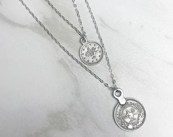 SPARE CHANGE Matte Silver COIN Pendant 2 Necklace Set * Sterling Chain * Dangling Coins * Delicate *Dainty *  Minimal *Simple * Fun