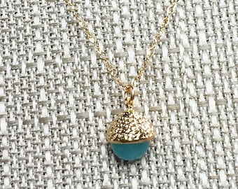 LAST ONE!  Small Gold Capped Chalcedony ACORN Pendant Necklace * 14k Gold Filled Chain * Delicate, Dainty * Minimal, Simple * Mint Green