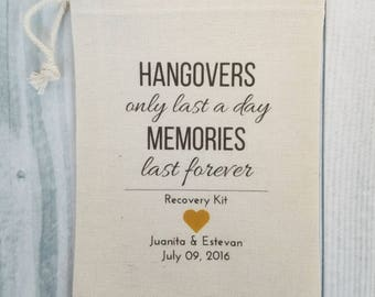 10 Wedding Favors, Bachelorette Party Favor, Hangover Kit, Survival Kit, Birthday Favor Custom - Hangovers Last a Day Memories Last Forever