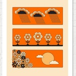 April May June retro 70s illustration spring flowers sky clouds raindrops daisy daisies sunset floral seventies 70s poster