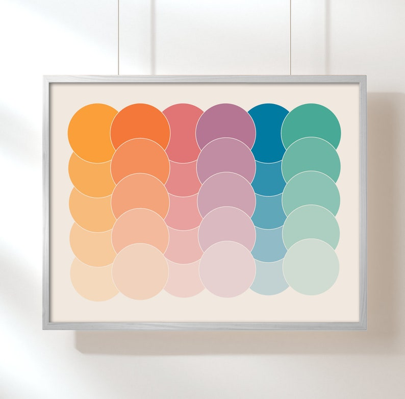 Boca Dots geometric art abstract 70s poster 70s art pastel image 0