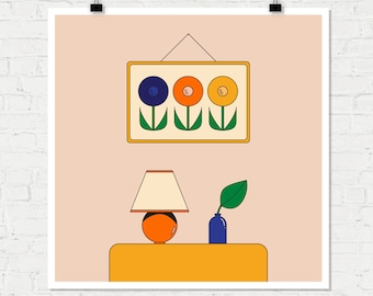 Moods Giclee Print retro illustration 70s art seventies poster still life flowers houseplants retro style art