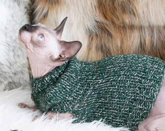 Green sphynx sweater, green sphynx clothes, green cat sweater, green cat clothes, soft cat sweater, soft sphynx sweater, cat lover gift