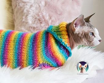 Rainbow cat sweater, rainbow cat shirt, rainbow sphynx, rainbow sphynx shirt, rainbow sphynx clothes, rainbow clothes, rainbow pet sweater