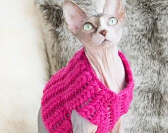 Neon pink sweater, wool cat sweater, pink cat sweater, cat lover gift, pink sphynx sweater, hot pink sweater, sphynx gift, sweater for cat