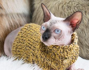 Yellow cat shirt, yellow cat clothes, cat lover gift, sweater for sphynx, sweater for cat, sphynx cat sweater, soft cat sweater, cat clothes