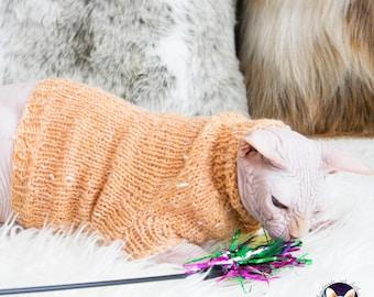 Orange cat sweater, orange cat clothes, orange cat shirt, soft cat shirt, sphynx shirt, sphynx clothes, cat clothes, cat sweater, cat shirt