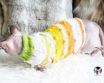 Colorful cat sweater, striped cat sweater, wool cat sweater, wool sphynx sweater, warm cat sweater, warm sphynx sweater, cat lover gift