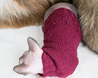 Alpaca cat clothes, alpaca cat sweater, alpaca sweater, red cat sweater, red cat clothes, red sphynx sweater, red sphynx clothes, cat gift