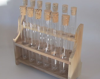 Dollhouse Miniature Wood Test Tube Rack Tubes Laboratory Decoration Ga