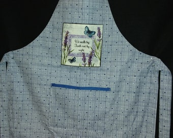 Inspirational apron with scripture.  Blue and white, fully lined